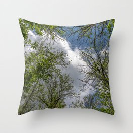 Clouds and trees tops Throw Pillow