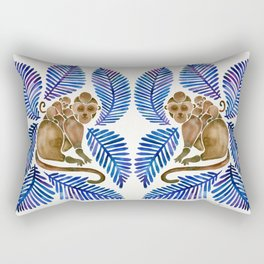 Monkey Cuddles – Navy Leaves Rectangular Pillow