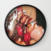 cunt Wall Clocks featuring funny painting food fetish Big dick cock suck oral sex pussy cunt transgender anal fuck  by Velveteen Rodent