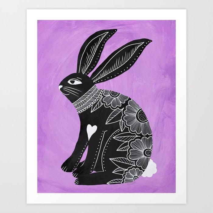 Folk Art Bunny Art Print