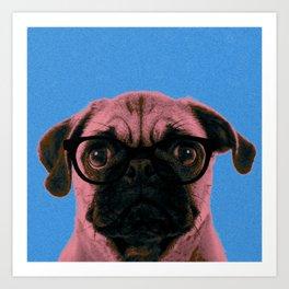 Geek Pug in Blue Background Art Print