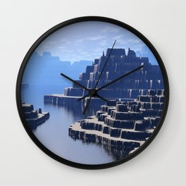 Mysterious Terraced Mountains Wall Clock