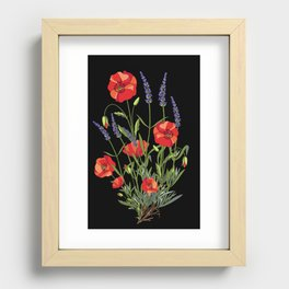 Poppies & Lavendar Recessed Framed Print