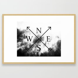 Foggy Forest Compass Framed Art Print