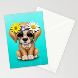 Cute Puppy Dog Hippie Stationery Cards