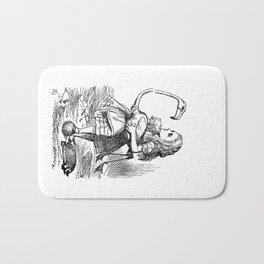 Vintage Alice in Wonderland flamingo croquet antique book drawing emo goth illustration art print  Bath Mat