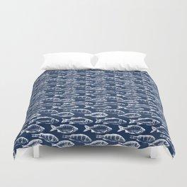 Fish // Navy Blue Duvet Cover