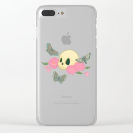 Memento Mori Skull with Peonies and Moths Clear iPhone Case