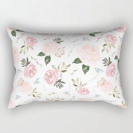 Floral Blossom - Muted Pink Rectangular Pillow