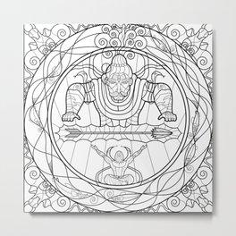 Arjuna & Shiva BnW Metal Print