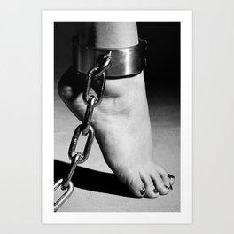 Woman Barefoot in steel Cuffes Art Print