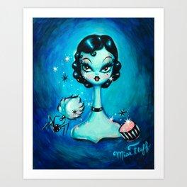 Noir Boudoir Girl - Painted Version Art Print