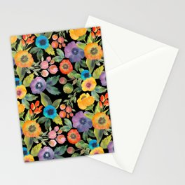 Poppies on Black Stationery Cards