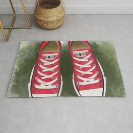 red converse//for young soul//red sneakers on the grass//digital print//for youth//baseball Rug