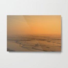 Sunset in the beach of Biarritz Metal Print