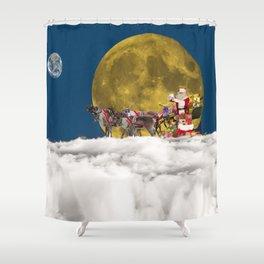 Santa and His Sleigh Shower Curtain
