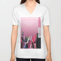 makeup V-neck T-shirts featuring Makeup Quote by Luxe Glam Decor