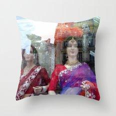 Reflections in a Sari Shop Window, Paris Throw Pillow