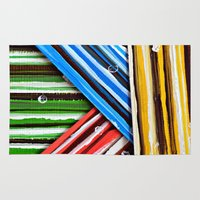 striped Area & Throw Rugs featuring Striped Planes by Claudia McBain