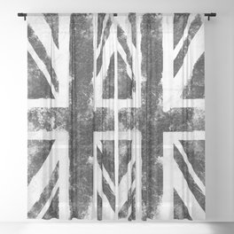Black Grunge UK Flag Sheer Curtain