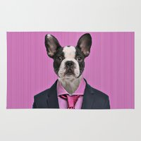 french bulldog Area & Throw Rugs featuring French bulldog by Life on White Creative