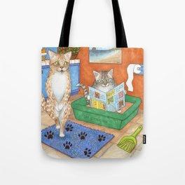 Cat in litter Tote Bag