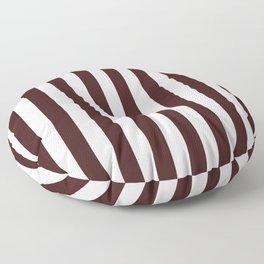 Narrow Vertical Stripes - White and Dark Sienna Brown Floor Pillow