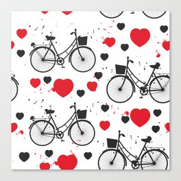 seamless pattern black bike and red heart on white background. Vector illustration Canvas Print