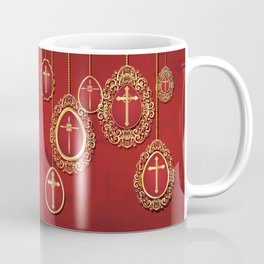 Gold crosses and eggs shapes on red Coffee Mug