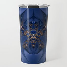 Blue and Gold Camouflaged Spider Travel Mug