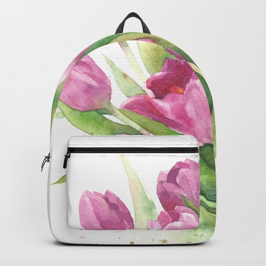 Watercolor bouquet of pink tulips Backpack
