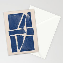 Watercolor collage, Paper Collage, Blue and Beige Stationery Cards