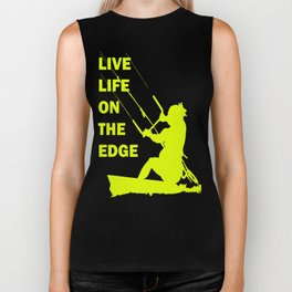 Live Life On The Edge Neon Yellow Kitebeach Biker Tank