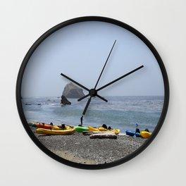 Canoes At Bodega Bay Wall Clock