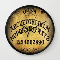 ouija Wall Clocks featuring Ouija Board by Lostfog Co↟