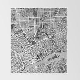 Detroit Michigan City Map Throw Blanket