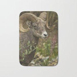 Ram Eating Fireweed cropped Bath Mat
