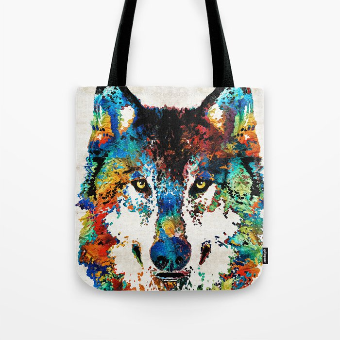 Wolf Art Print - Hungry - By Sharon Cummings Tote Bag