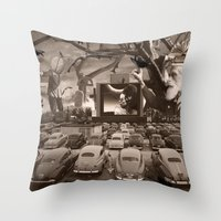 nightmare Throw Pillows featuring Nightmare by Kiki collagist
