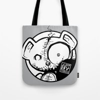 infamous Tote Bags featuring Infamous Bear Logo by TobiasGebhardt