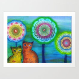 Cats and Trees Art Print