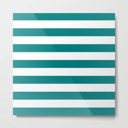 Horizontal Stripes (Teal/White) Metal Print