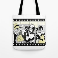 toilet Tote Bags featuring LADIES TOILET by taniavisual