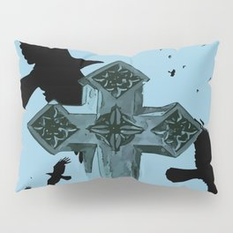 Gothic Cross Headstone With Crows and Ravens Pillow Sham