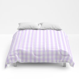 Chalky Pale Lilac Pastel and White Gingham Check Plaid Comforters