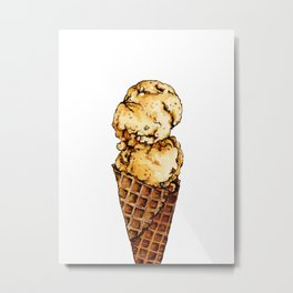 Watercolor Waffle Ice cream Metal Print