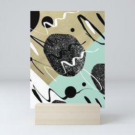 Gold Mint Black White Abstract Glam #1 #trendy #decor #art #society6 Mini Art Print