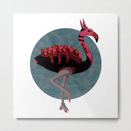 Dino-Flamingo Metal Print