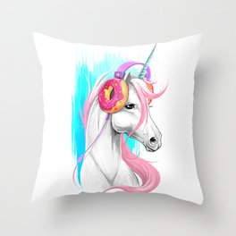 Unicorn in the headphones of donuts Throw Pillow
