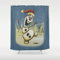 olaf Shower Curtains featuring Olaf Christmas Frozen by WimpyGeek Art